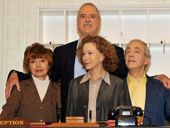 The Fawlty Towers cast Prunella Scales, John Cleese, Connie Booth and Andrew Sachs reunited in 2009 to mark the 30th anniversary of the classic sitcom. Picture: News Corp Australia