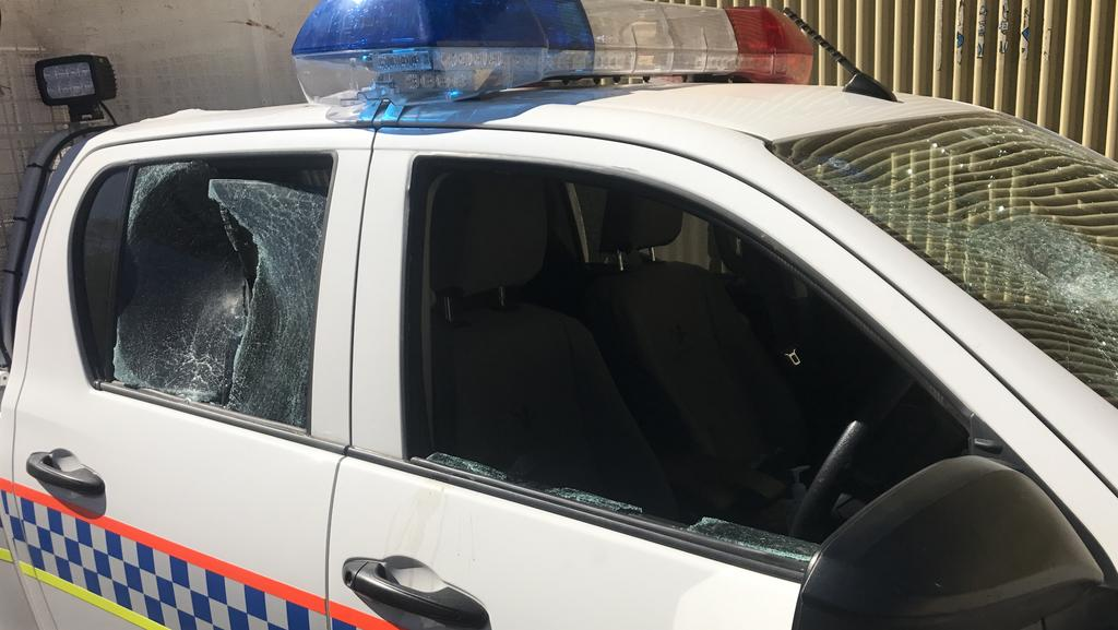 NT Police officers were forced to abandon their vehicle after they had rocks thrown at them at a town camp near Alice Springs. Picture: NT POLICE