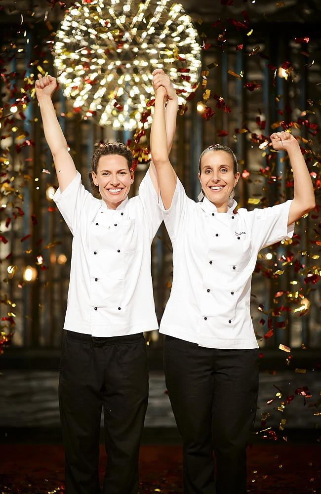 Celebrations ... South Australian mums Bree May and Jessica Liebich have won My Kitchen Rules. Picture: Channel 7