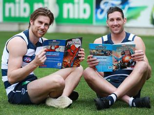 Geelong players with Marvel comics