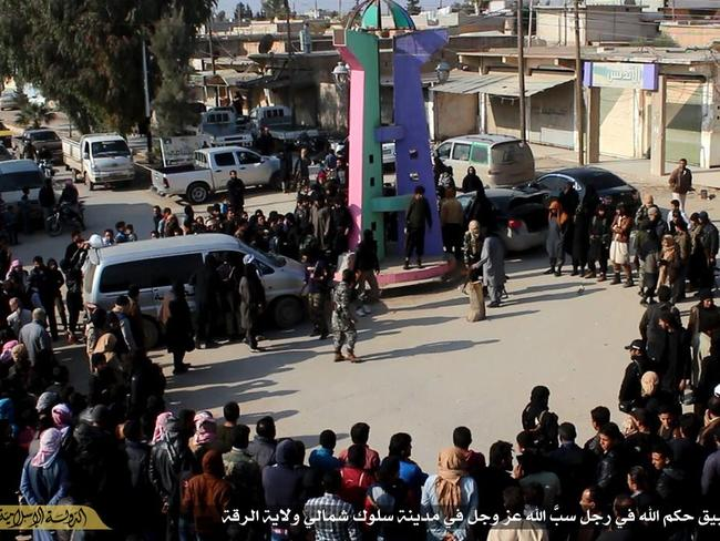 ISIS beheaded a man in Raqqa in the square in 2014.