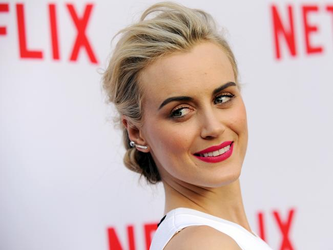 Glammed up...Taylor Schilling in Hollywood glamour mode at a talk on women in TV in LA earlier this month. Picture: AP