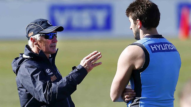 Carlton coach Mick Malthouse lays down the law. Picture: Michael Klein