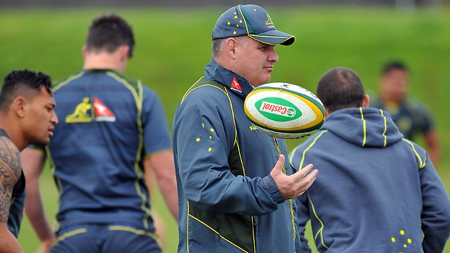 Wallabies coach Ewen McKenzie attends a training session at City Parkin Cape Town, South Africa.