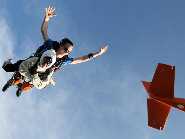 Mrs O'Shea used the jump to raise money for MND research. Picture: Bryce Sellick/SA Skydiving