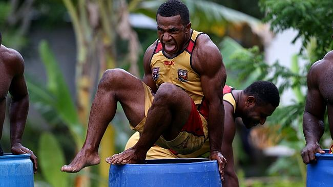 "Noel Joel and team mates from the Papua New Guinea ""Hunters"" get ready for ice baths at their Bomana training base as the excitement builds as they are only 2 weeks away from playing their first game in the Queensland Cup. Pics Adam Head"
