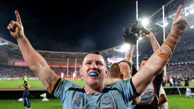 Paul Gallen celebrates after clinching the 2014 State of Origin series. Picture: Gregg Porteous