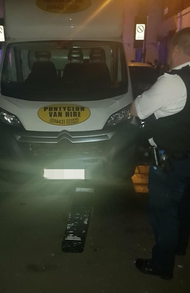 A photo of the van that hit pedestrians near Finsbury Park Mosque in London. Picture: Twitter