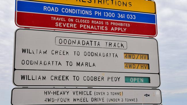 Faulty Outback road signs in Far North are risks to safety of     The Advertiser One of the    road signs at William Creek across the South Australian Outback that has been malfunctioning and providing drivers with incorrect information