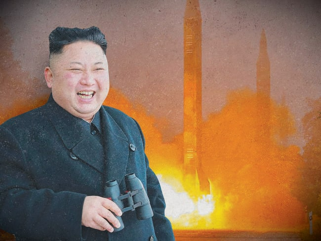 TOPSHOT — Kim Jong-un and a missile fired during a drill by Hwasong artillery units of the Strategic Force of the Korean People's Army. Picture: AFP