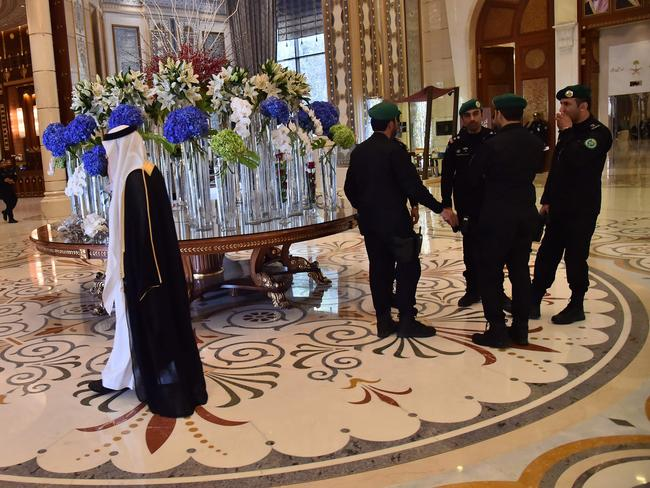 Police chat in the lobby of Riyadh's Ritz Carlton. Picture: Giuseppe Cacace