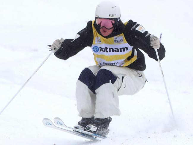 Britteny Cox competes in a Moguls qualifying race at a recent World Cup.