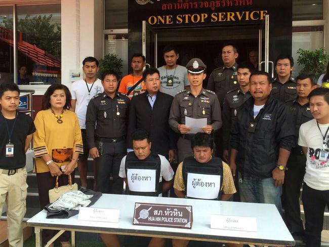 Police surround two suspects arrested over the Owen family bashing. Picture: Hua Hin Police.