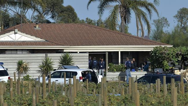 Carabooda organised crime raids. Police raid a property at Safari Place, Carabooda. Picture: Theo Fakos