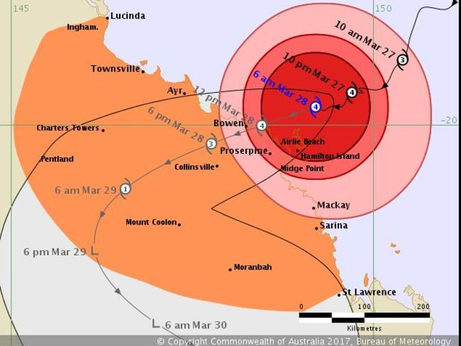 Bureau of Meteorology Cyclone Debbie's forecast map, issued at 6am AEST. Picture: Bureau of Meteorology