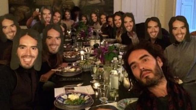 Clone ranger ... How Russell Brand celebrated his 39th birthday last year. Picture: Supplied