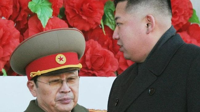 North Korean leader Kim Jong-un (right) was behind the execution of his uncle Jang Song Thaek (left) on December 12. Picture: AP