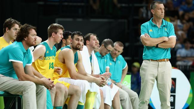 Andrej Lemanis reacts during the Boomers' Olympics campaign.
