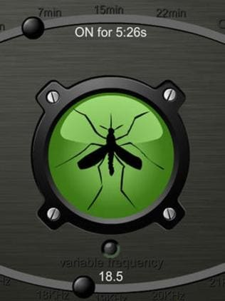 The app Mosquito Sonic Repellent FREE offers a range of frequencies to supposedly fine tune mozzie zapping powers. Picture: Supplied.