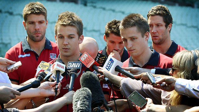 Melbourne players at MCG remembering club great Jim Stynes who pasted away this morning. The leadership group headed up by co captains Jack Trengove and Jack Grimes front the media at the MCG today Picture: Michael Klein