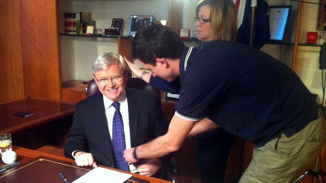 Mr Rudd pictured getting ready for his interview. Picture: ABC/Facebook