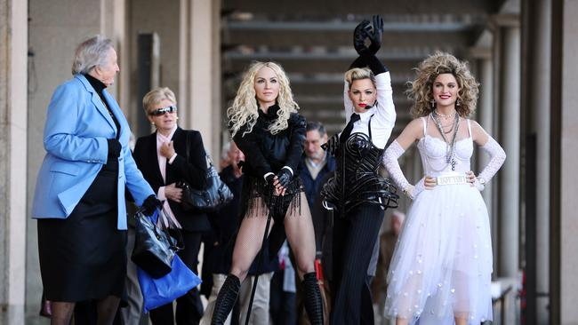"Some public members on the way to The Opera House for a show looked a little unimpressed at the lack of clothes on such a freezing morning. One old lady stopped and spoke to the 80's Madonna saying ""You must be freezing love!"" not realizing it was a wax figure."