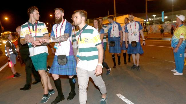 Outside the Commonwealth Games closing ceremony, Australian and Scottish team members leaving early. Picture: Mike Batterham