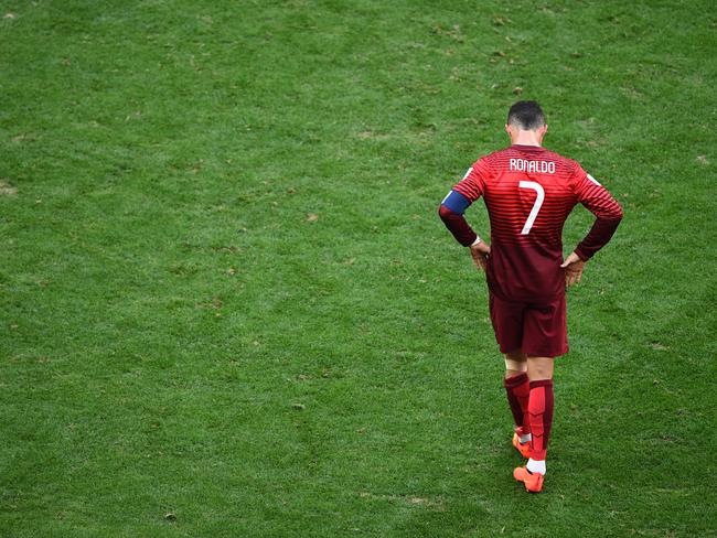 Cristiano Ronaldo of Portugal looking dejected after the match against Ghana.