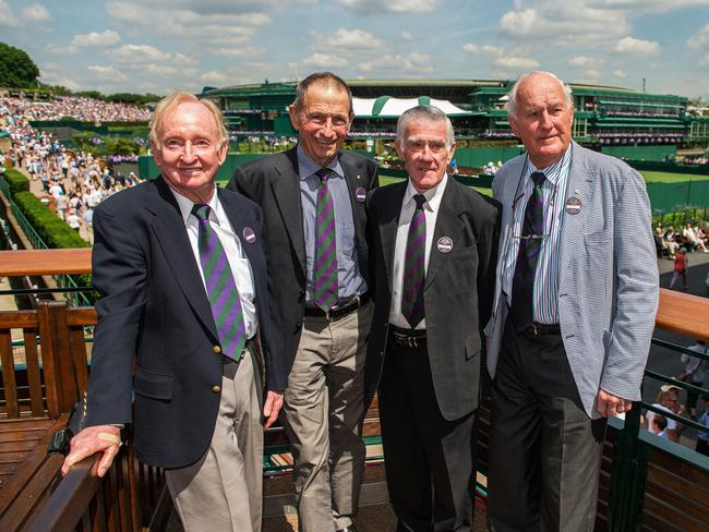 Former Wimbledon heroes from Australia Rod Laver, Ashley Cooper, Ken Rosewall and Neale Fraser.