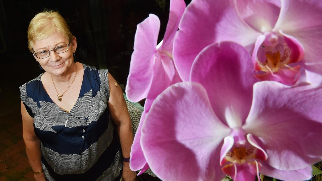 The largest Orchid show in Northern Australia is on this weekend Sarah Henderson organiser with her collection at her home in Palmerston. PICTURE: Katrina Bridgeford
