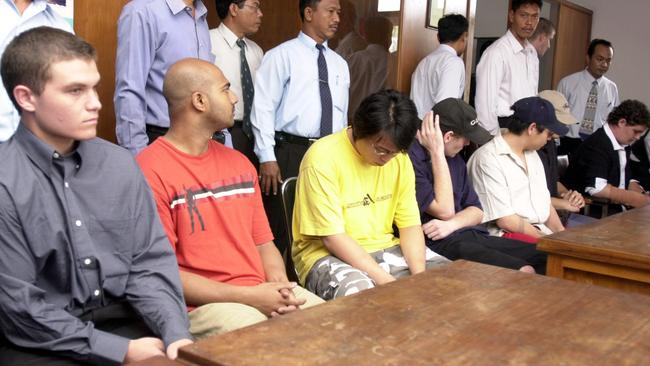 Seven Bali Nine post arrest, from left, Scott Rush, Myuran Sukumaran, Tanduc Tan Nguyen, Matthew Norman, Andrew Chan, Si Yi Chan and Renae Lawrence.