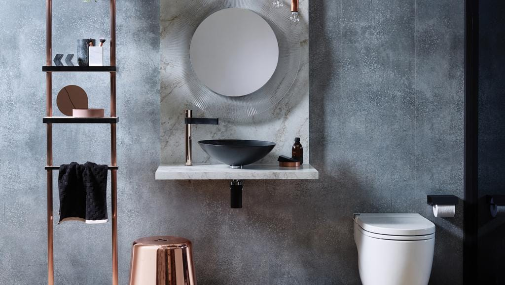 tap into multiple textures to bring warmth to your bathroom