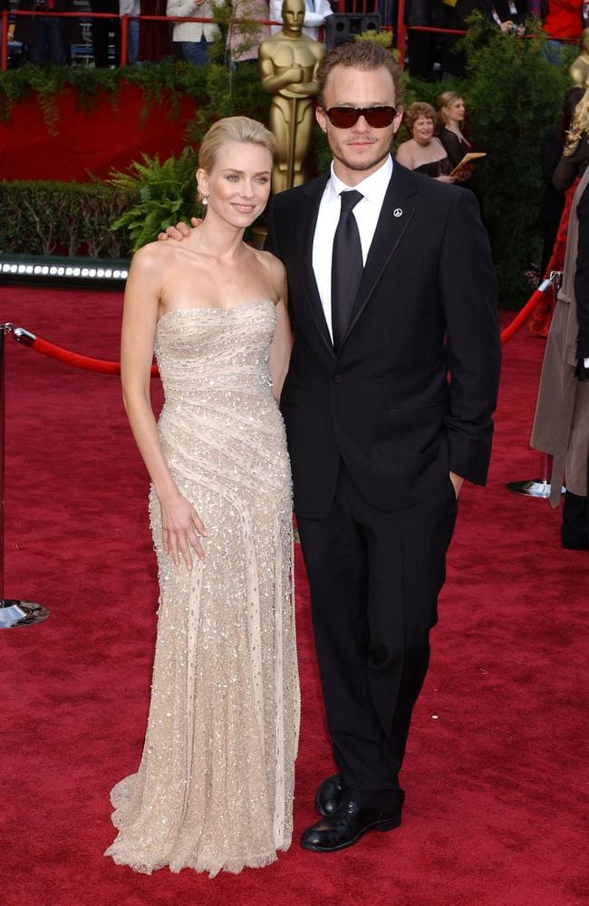 Naomi Watts glowed in rhinestone-encrusted Givenchy in 2004, accompanied by Heath Ledger. Picture: Gregg DeGuire/WireImage