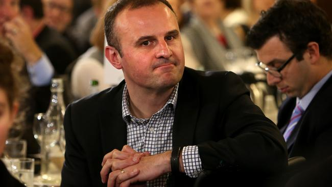 ACT Chief Minister Andrew Barr listens to Liberal Senator Cory Bernardi and Labor Senator Penny Wong debate same sex marriage in 2015 at the Press Club in Canberra.