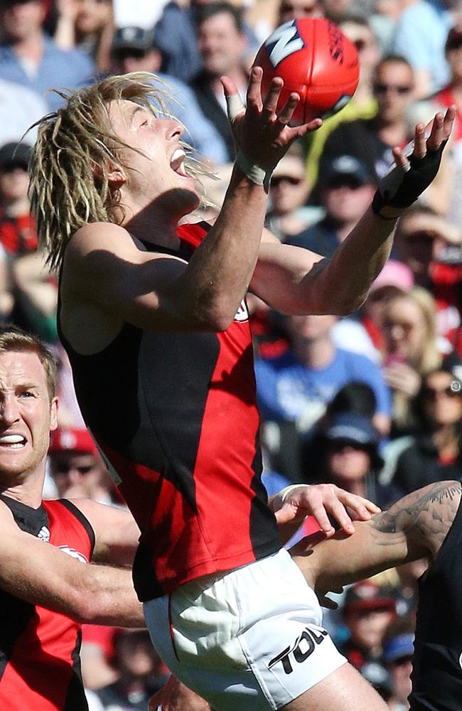 Dyson Heppell had no issues with his hand against Carlton. Picture: George Salpigtidis