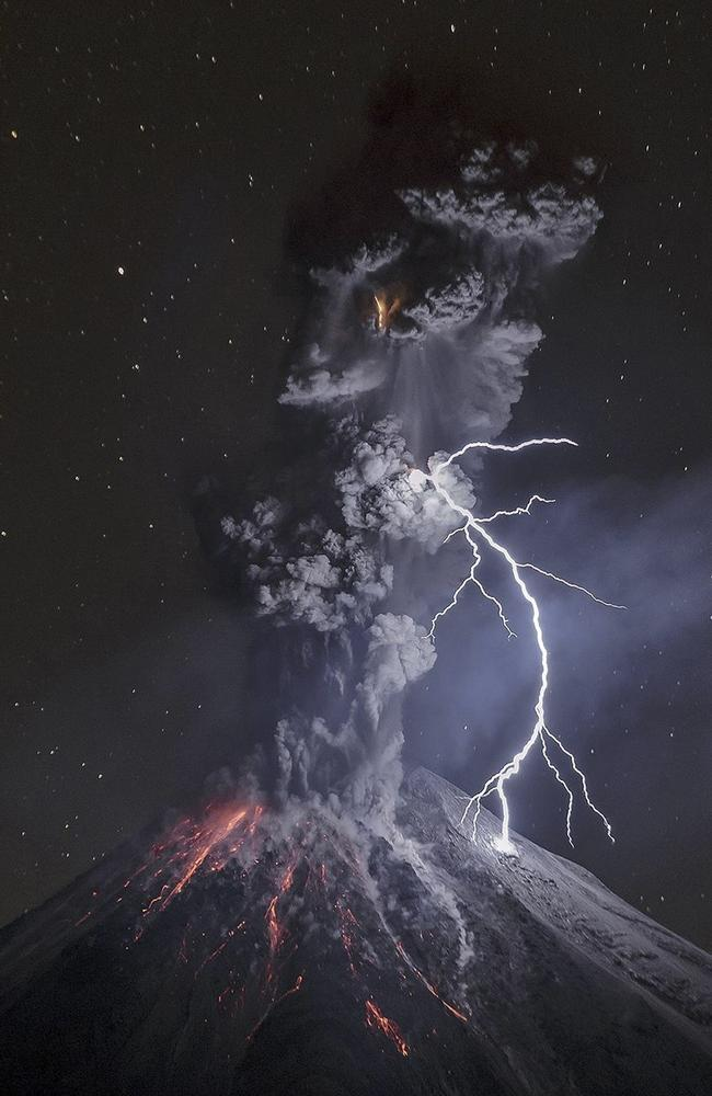 The winning entry shows this volcano in great detail being hit by lightning. Picture: Sergio Tapiro Velasco / National Geographic Travel Photographer of the Year