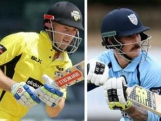 (L-R) Shaun Marsh (WA) and Nic Maddinson (NSW) can push their Ashes selection claims when the teams meet at Hurstville Oval.
