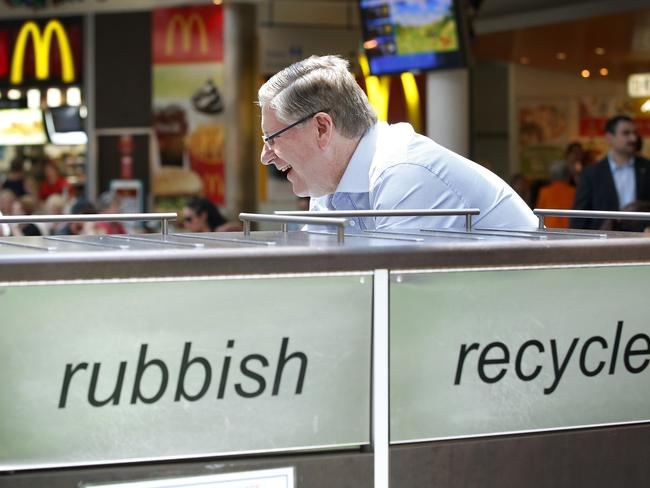 Denis Napthine stops to talk to shoppers at Karingal Hub Shopping Centre near Frankston. Picture: David Caird.