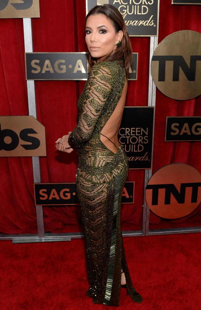 Eva Longoria showed off her assets in a backless beaded gown. Picture: Getty Images