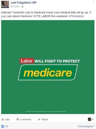 Labor's Joel Fitzgibbon has posted the Medicare logo on his Facebook page, without any legal threats.