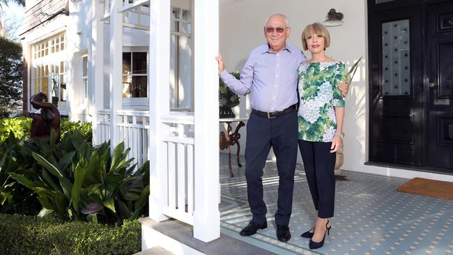 Stephen Johns and his wife Michele Bender at their home in Bellevue Hill. Picture: James Croucher