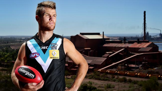Robbie Gray standing on Hummock Hill in Whyalla during the club's community camp earlier this year. PIC SARAH REED.