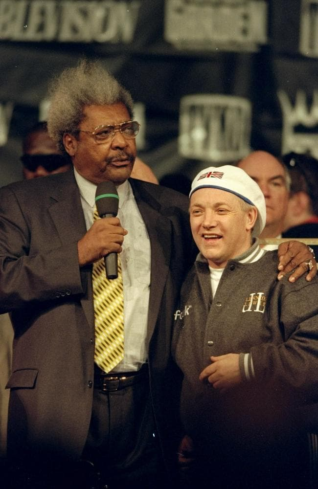 Frank Maloney with promoter Don King in 1999 before Lewis' unification fight with Evander Holyfield.