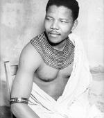 <p>South Africa's President Nelson Mandela in undated photo as young man wearing authentic beaded necklace of the Thembu clan.</p>