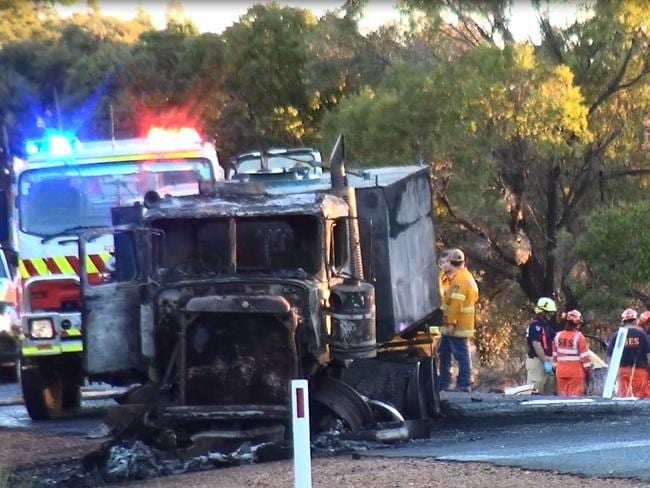 *** FEE APPLES FOR USE OF THIS CONTENT *** Two dead and a woman fighting for her life in hospital after horror crash on The Gipps way near Condobolin. A car collided with a truck killing two passengers and leaving the 21-year-old driver fighting for her life. The truck burst into flames shortly after the impact. MUST CREDIT TNV