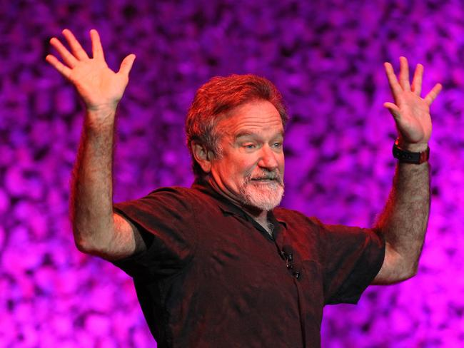Comedian Robin Williams on stage at Rod Laver Arena in Melbourne.