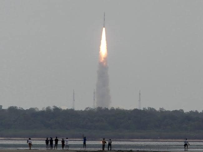 Lift off ... A Polar Satellite Launch Vehicle (PSLV) is launched from the Satish Dhawan Space Centre (SDSC) in the Indian town of Sriharikota on June 30. Picture: AFP