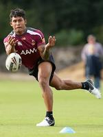 Ben Barba trains with the Queensland Maroons as 18th man before the State of Origin series.