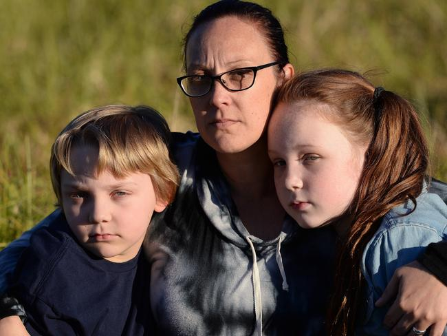 Warners Bay mum, Jade Marr, with her children Kendall, 10, and Jackson, 7, who were abused on a Sydney train by a woman because they were sitting on seats. Picture: Peter Lorimer