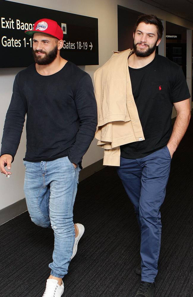 Josh Mansour and James Tedesco arriving at Sydney Airport after travelling to Canberra for contract negotiations.